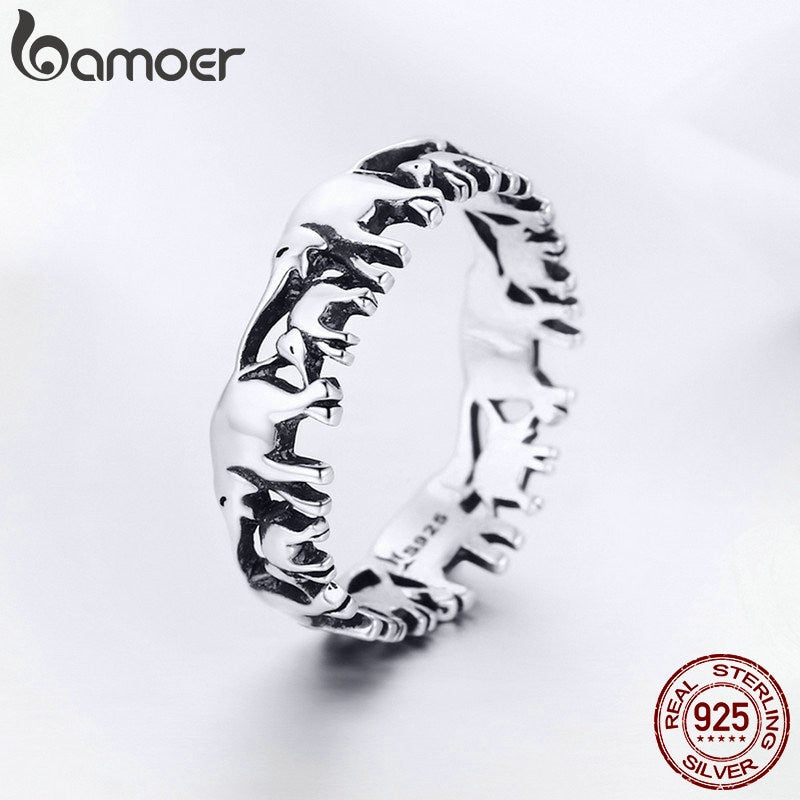 100% 925 Sterling Silver  Elephant Family Finger Rings