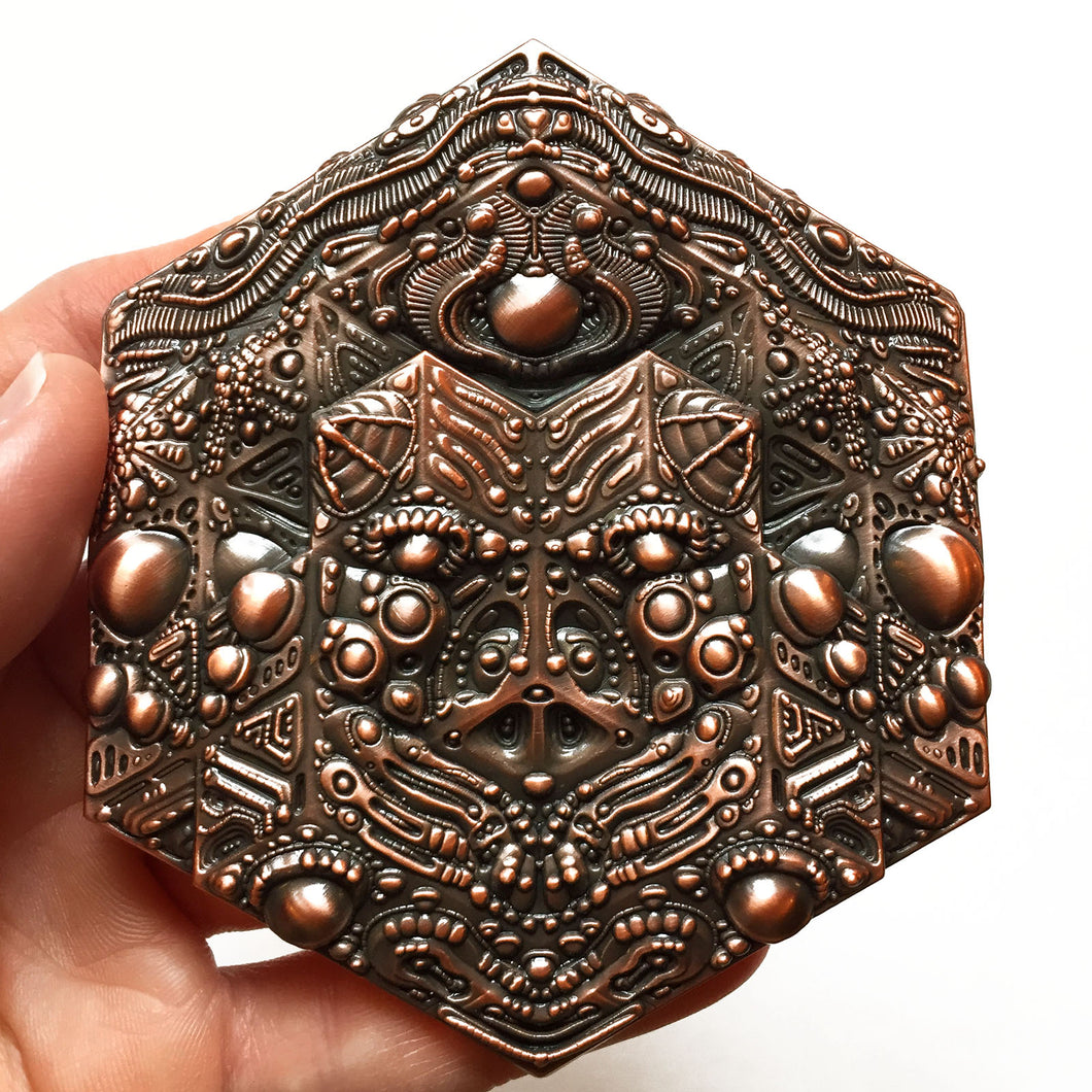 Hexagon Artifact Pin - copper
