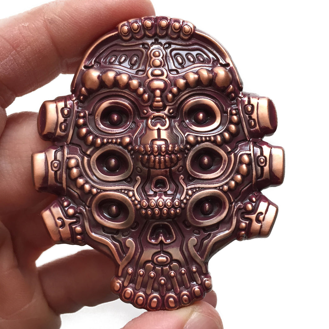 NUMB SKULLS - Copper/Burgundy Patina Pin