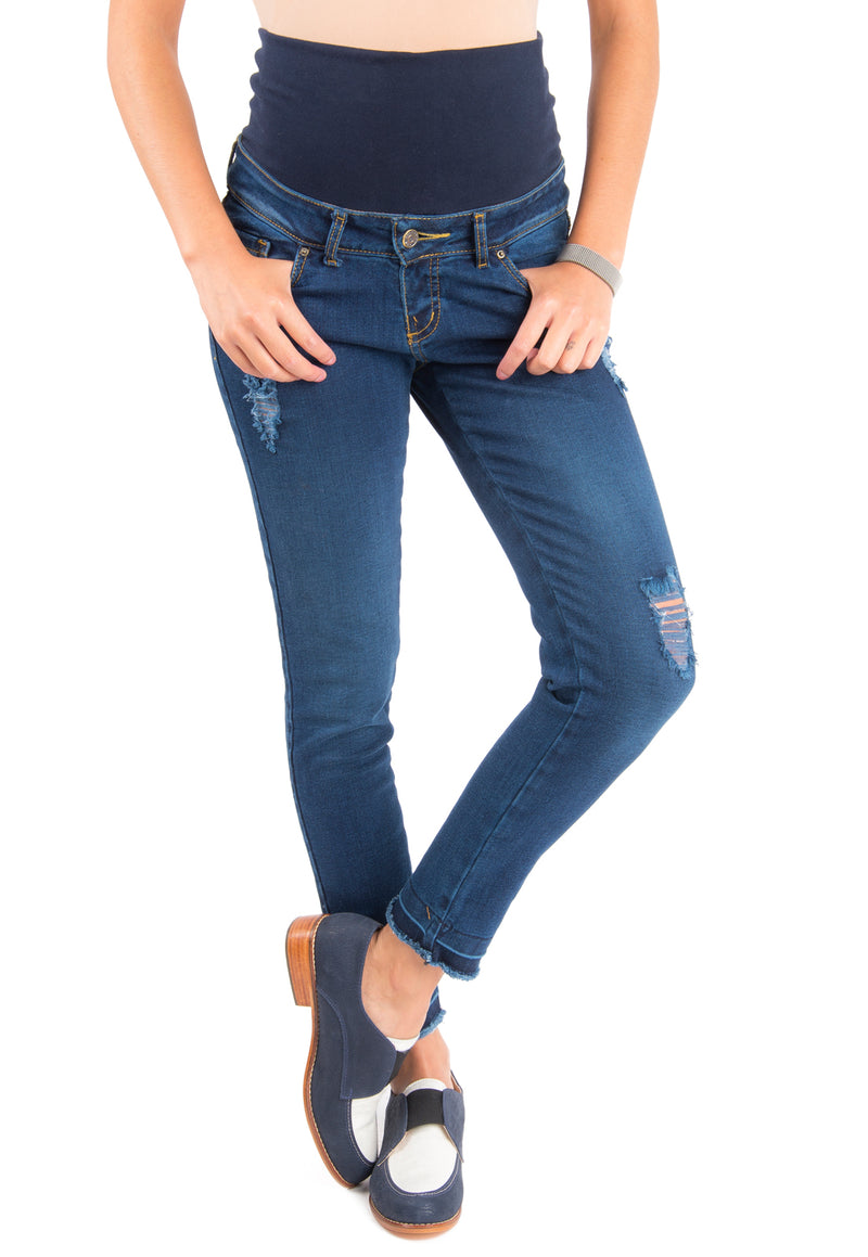 Cropped Jeans Maternal Roturas