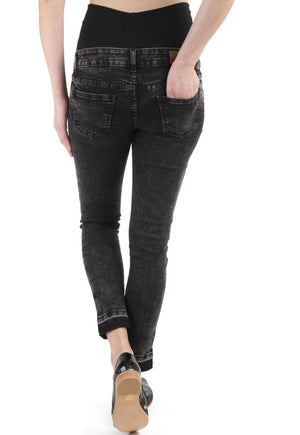 Jeans Maternal Cropped Negro