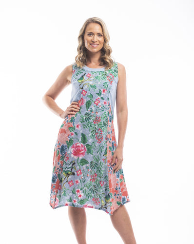 When it comes to the brand Orientique it's all about colour, detail and comfort while still looking modern and stylish. The Costa Del Sol Bias Dress is inspired by Japanese florals and bird motifs in soft blues and salmon pinks. Made from 100% Rayon it's soft and cool for those hot summer days.