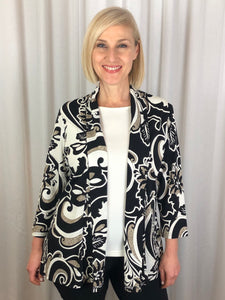 Our Gatsby 3/4 Sleeve Edge to Edge Jacket features a dramatic print in black and neutral tones with highlights of puff paint. So easy to wear and great for any occasion, team it with one of our camis in a coordinating colour to highlight the print. Made in Australia from Poly/Spandex, it's so easy to care for and ideal for travelling.