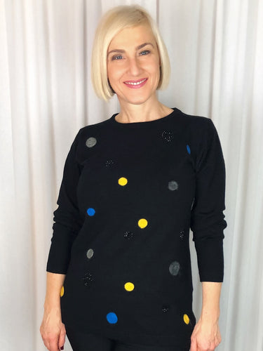 Spruce up your Winter wardrobe with our fun and modern Sparkles and Spots Pullover. Featuring a classic crew neckline, the contrasting polka dots and shimmering sparkles make this an extra special piece. Made from a soft and cozy blend of viscose, polyester and nylon, this pullover is lightweight, warm and fully washable.