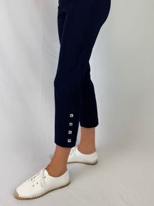 "Our Corsican 7/8 Marina Pant made from Bengaline and Lycra are one of our most popular styles of pant. Redesigned with a slightly tapered leg, they feature four shimmering mother of pearl square buttons on the side and an elastic waist allowing you the freedom to move. Available in six classic colours they're fully washable and best of all ""Made in Australia""."