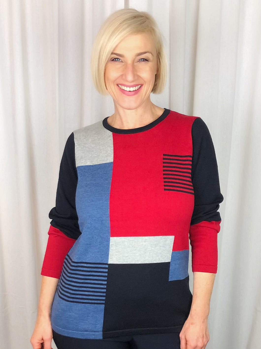 For a fun and up to date look this winter try our fashionable Block Pullover in navy, red, denim and grey tones. Made from a blend of Cotton and Acrylic, it's lightweight, warm and fully washable.