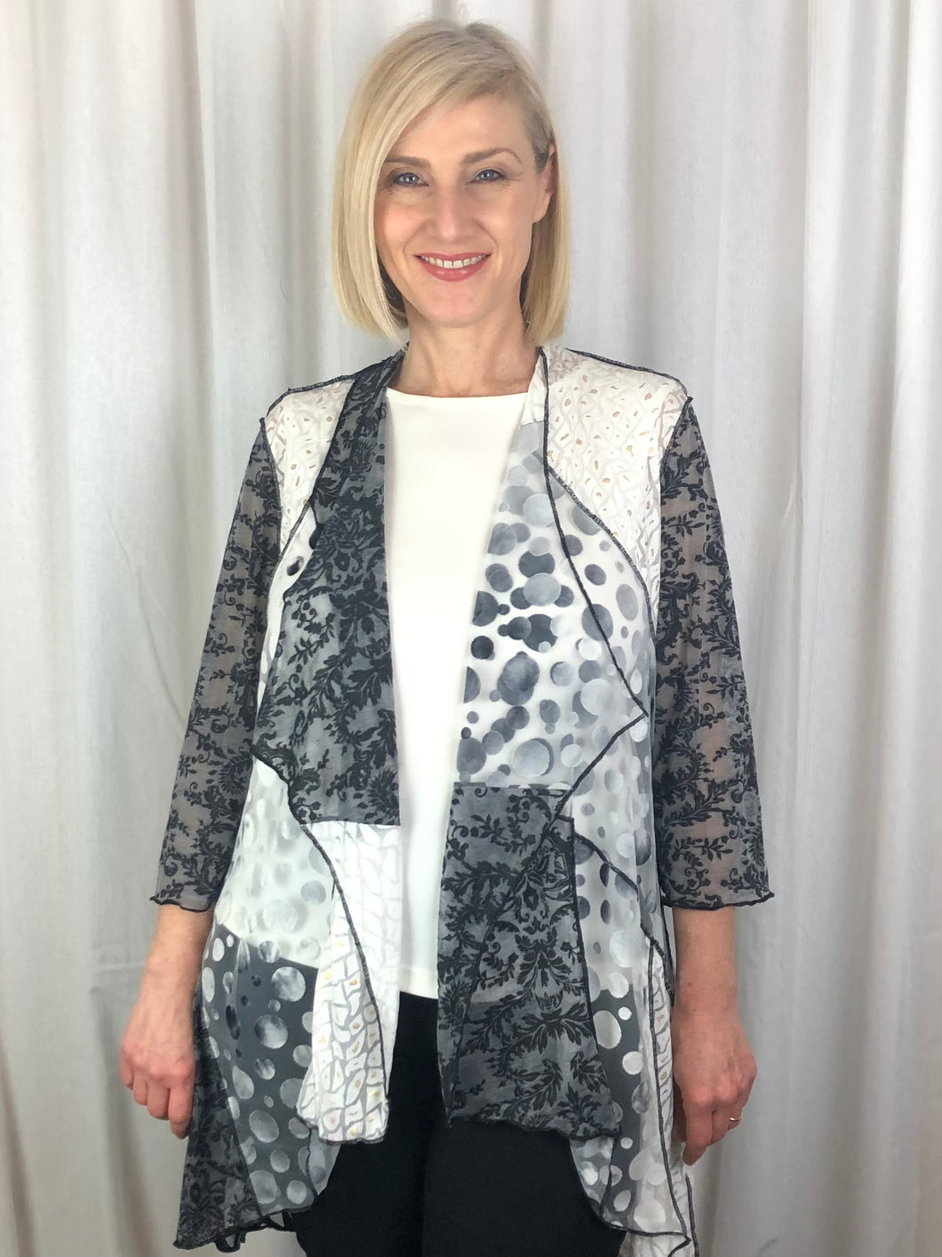 Our stunning Isabella Waterfall Jacket made from a variety of textured burnout panels is the ideal piece for Summer layering. Expertly designed to flatter the figure while hiding tummies and hips, it features a flowing longer line at the back. Made from Polyester/Viscose, it's fully washable and drip dries with no ironing required.