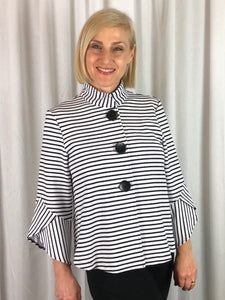 Our gorgeous Black and White Striped Petal Jacket with 3/4 sleeves is a stylish, fun piece to throw on day or night. Falling effortlessly about the body, the collar sits high at the neck while the back features a flowing silhouette of panels that swing so elegantly. Made from Polyester Spandex this jacket is lightweight, warm and machine washable.