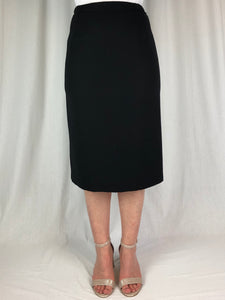 Our fully lined Pencil Skirt is a true classic. Sitting below the knee this skirt has a back zip, elastic sides and a kick pleat. Made in Australia from Polyester Microfibre this classic is washable and available in black and navy.