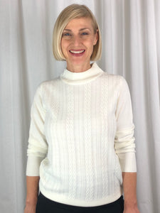 "Affordable Luxury! Our Cable Front Turtle Neck Pullover is made from a ""cashmere like"" acrylic yarn. This low allergy fibre is the perfect choice for a beautifully soft, easy care knit. It's warm and cosy, machine washable and available in eight superb colours."