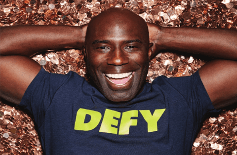 Image of Terrell Davis in a DEFY shirt.