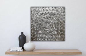 Original Abstract Silver Leaf Painting - Hand Made