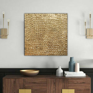 Original Abstract Gold Leaf Painting - Hand Made