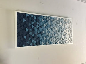 Blue Triangles Wood Mosaic