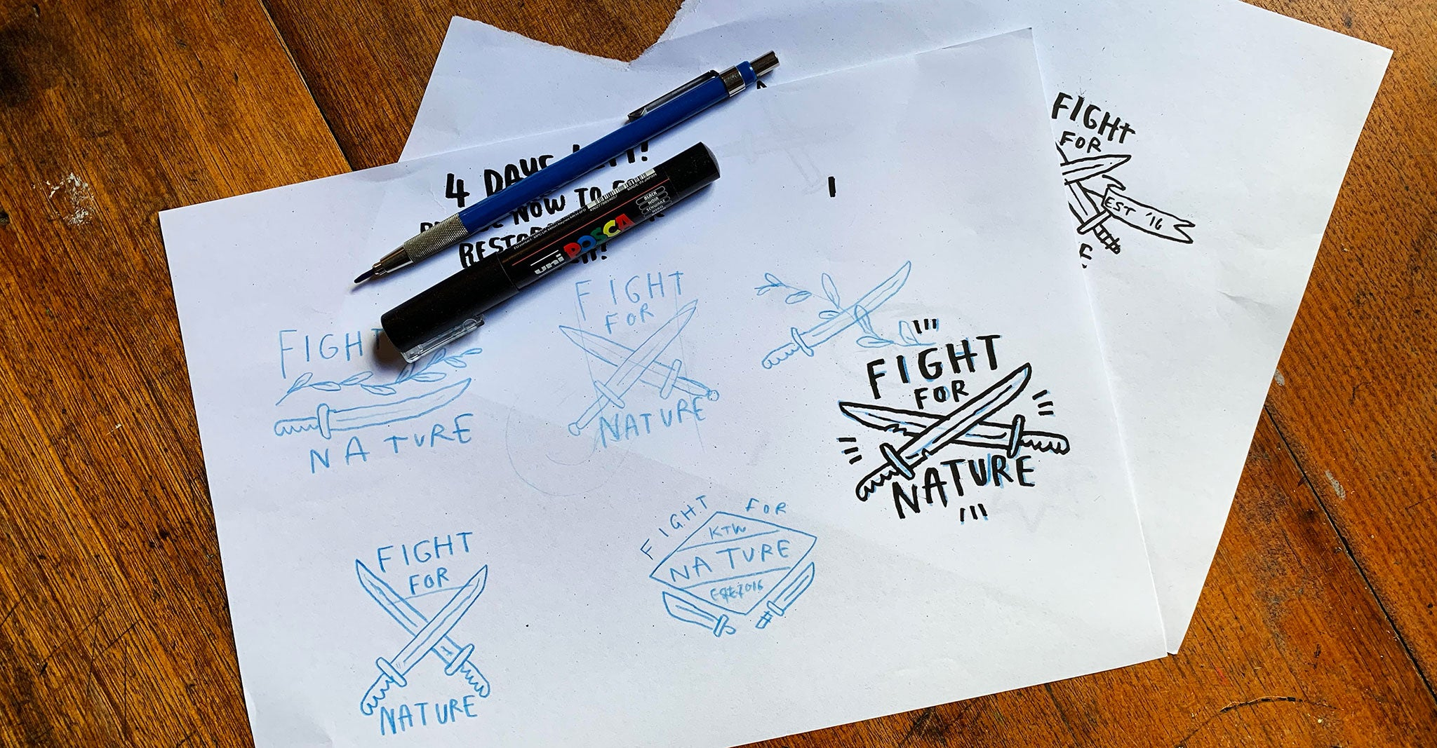 Original Fight for Nature design sketches
