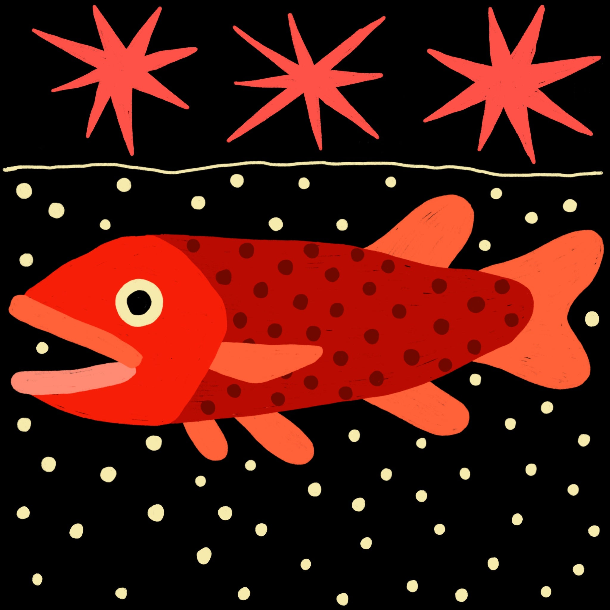 Illustration of a fish by Tom O'Hern