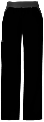 Cherokee Flexibles (Contrast Black) Women's Mid Rise Knit Waist Pull-On Pant - 1031P  Petite - ScrubHaven