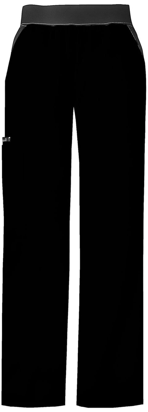 Cherokee Flexibles (Contrast Black) Women's Mid-Rise Knit Waist Pull-On Pant - 1031T  Tall - ScrubHaven