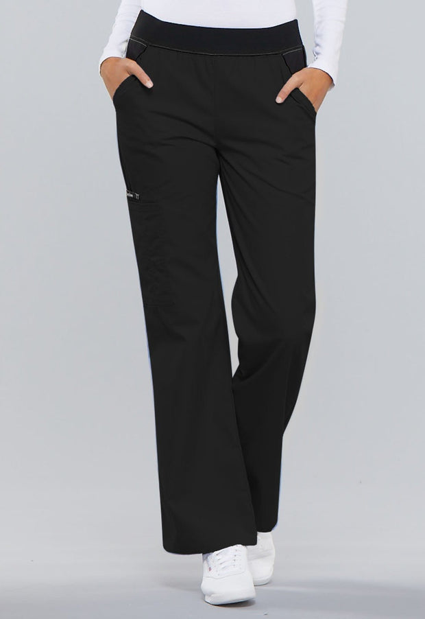Cherokee Flexibles (Contrast Black) Women's Mid Rise Knit Waist Pull-On Pant - 1031 - ScrubHaven