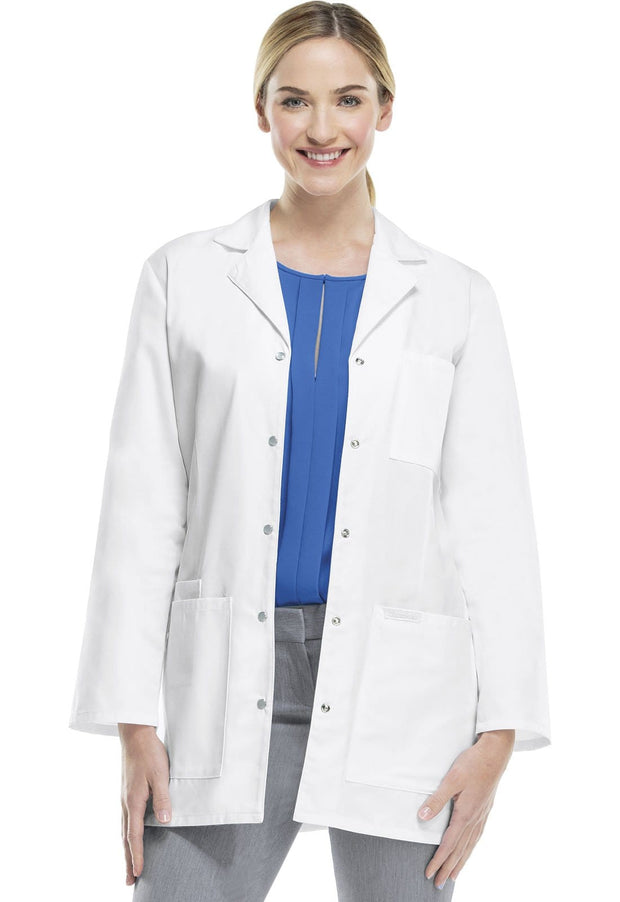 "Cherokee Professional Whites Women's 32"" Snap Front Lab Coat - 1369 - ScrubHaven"