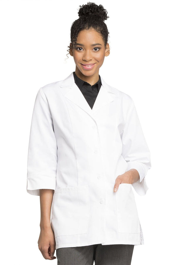 "Cherokee Professional Whites with Certainty Plus Women's 30"" 3/4 Sleeve Lab Coat - 1470AB - ScrubHaven"