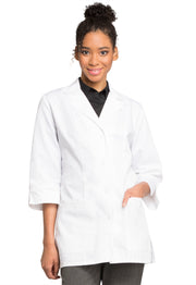 "Cherokee Professional Whites with Certainty Plus Women's 30"" 3/4 Sleeve Lab Coat - 1470AB"