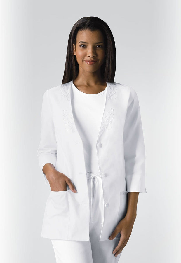 Cherokee Professional Whites Women's 3/4 Sleeve Embroidered Jacket - 1491 - ScrubHaven