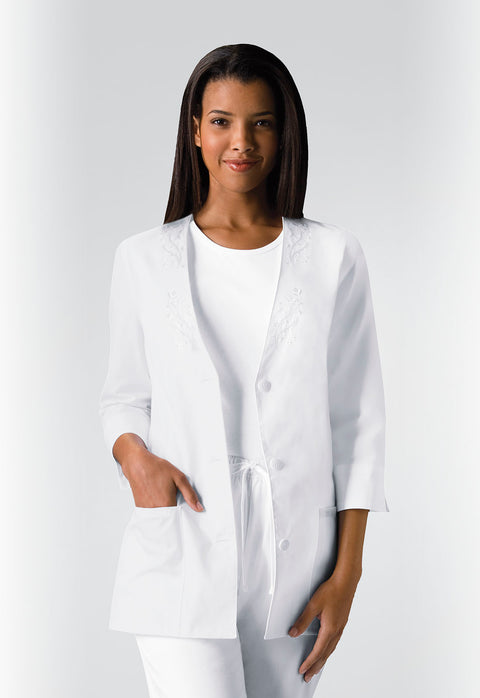Cherokee Professional Whites Women's 3/4 Sleeve Embroidered Jacket - 1491