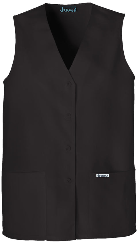 Cherokee Professional Solids Women's Button Front Vest - 1602