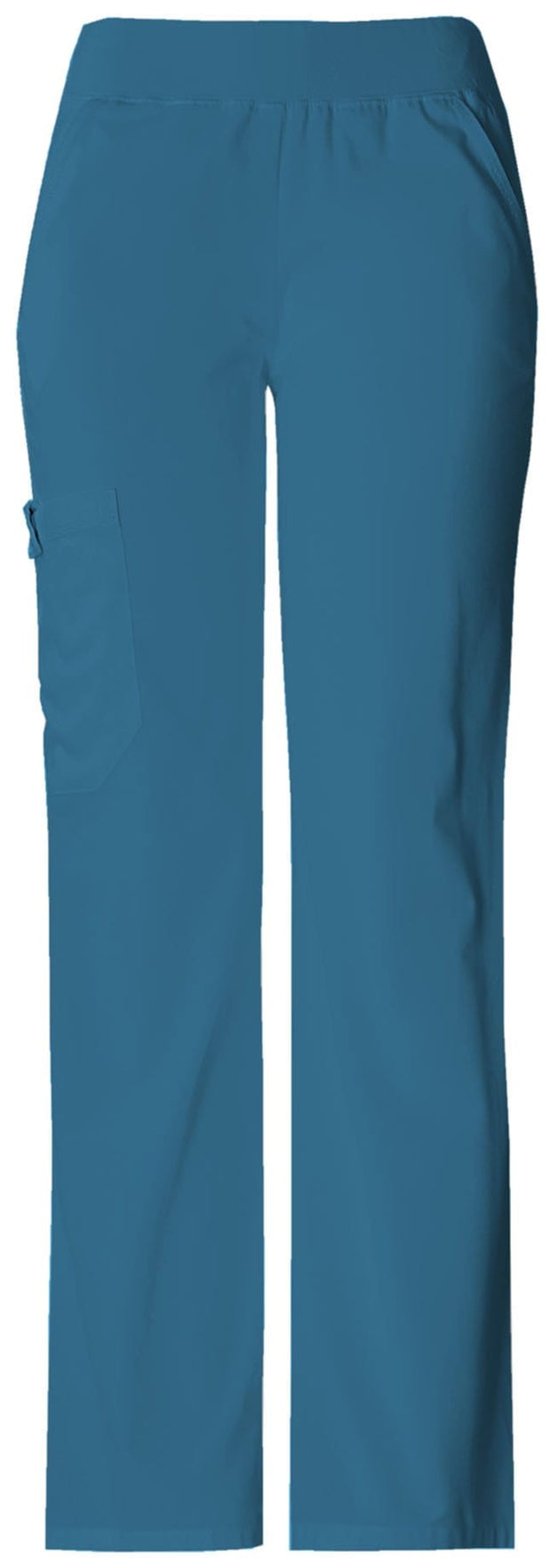 Cherokee Flexibles (Tonal) Women's Mid Rise Knit Waist Pull-On Pant - 2085P  Petite - ScrubHaven
