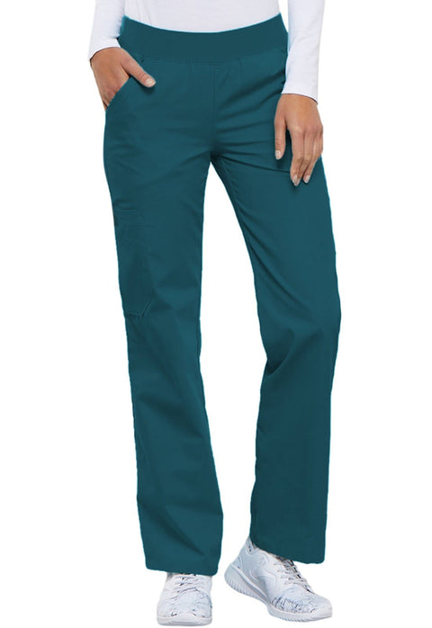 Cherokee Flexibles (Tonal) Women's Mid Rise Knit Waist Pull-On Pant - 2085 - ScrubHaven