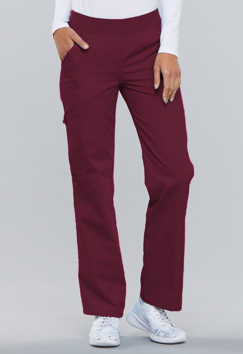 Cherokee Flexibles (Tonal) Women's Mid Rise Knit Waist Pull-On Pant - 2085