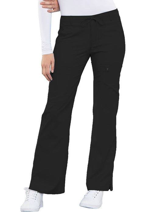 Cherokee Luxe Contemporary Fit Women's Low Rise Flare Leg Drawstring Cargo Pant - 21100 - ScrubHaven