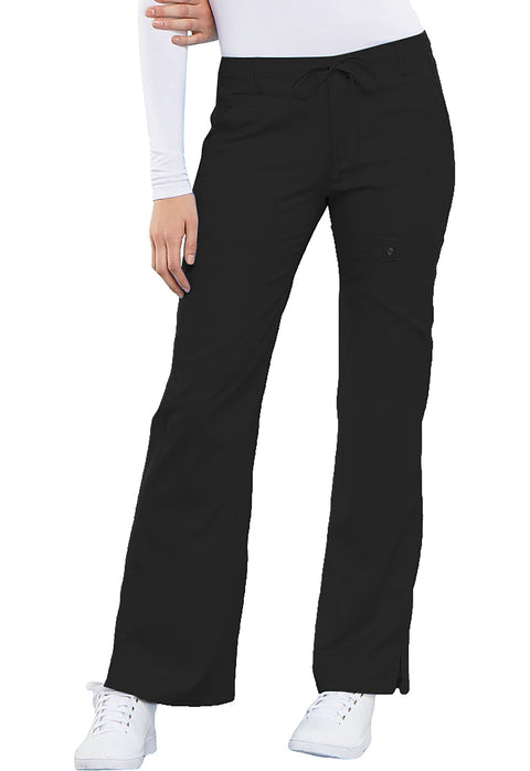 Cherokee Luxe Contemporary Fit Women's Low Rise Flare Leg Drawstring Cargo Pant - 21100