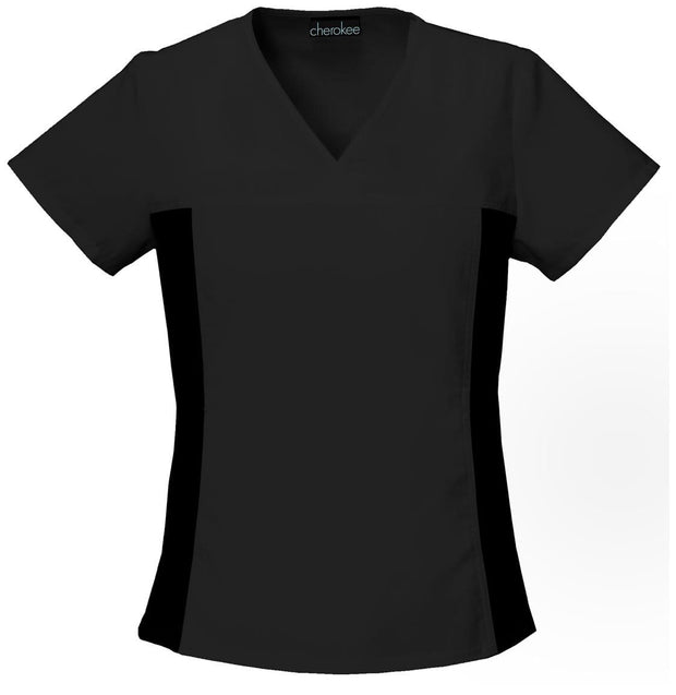 Cherokee Flexibles (Contrast Black) Women's V-Neck Knit Panel Top - 2874 - ScrubHaven