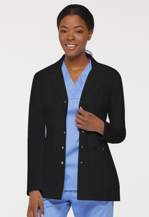 "Dickies Xtreme Stretch Women's 28"" Snap Front Lab Coat - 82400 - ScrubHaven"