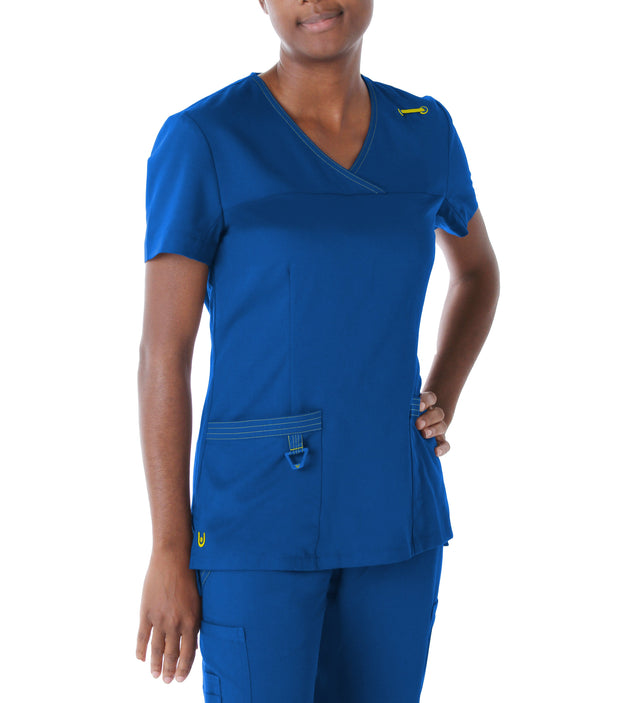 "9045<br> WOMENS MELISSA"" SURPLICE SCRUB TOP"""