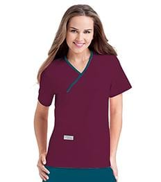 9534 WOMENS DOUBLE POCKET CROSSOVER TOP