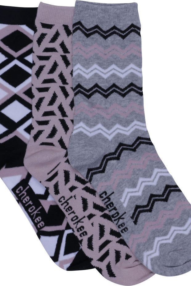Cherokee   Women's 1-3pr Pack Crew Socks - BLUSHINGBEAUTY - ScrubHaven