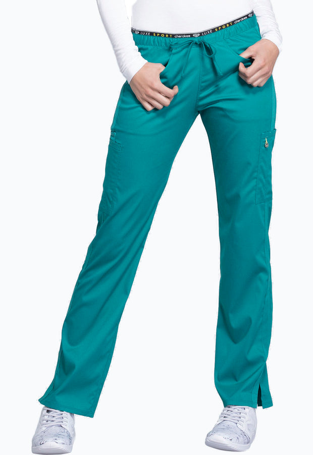 Cherokee Luxe Sport Women's Mid Rise Straight Leg Pull-on Pant - CK003P  Petite