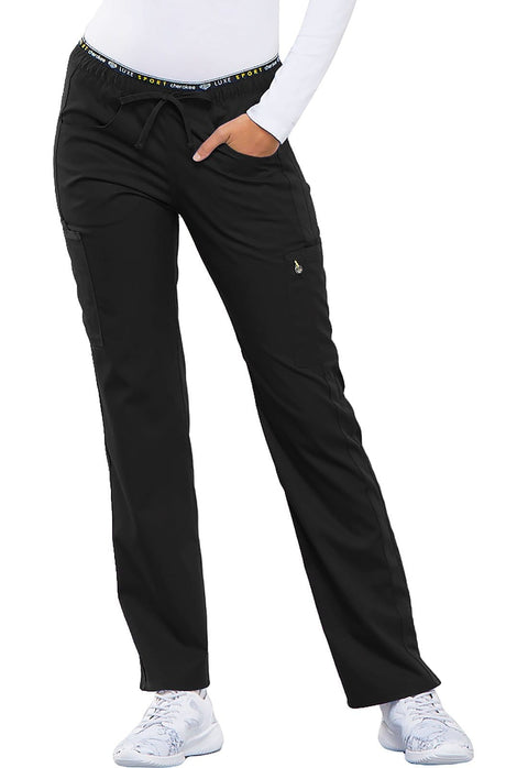 Cherokee Luxe Sport Women's Mid Rise Straight Leg Pull-on Pant - CK003 - ScrubHaven