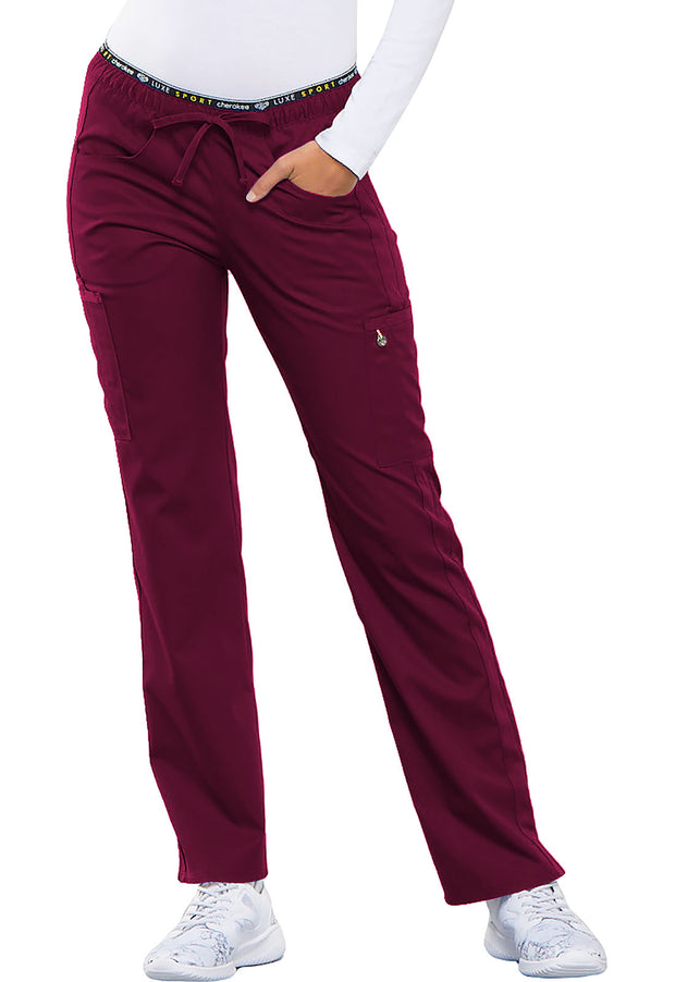 Cherokee Luxe Sport Women's Mid Rise Straight Leg Pull-on Pant - CK003
