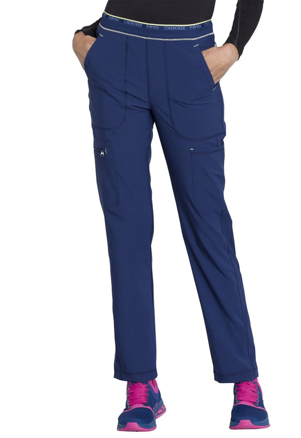 Cherokee Infinity Women's Mid Rise Tapered Leg Pull-on Pant - CK050AP  Petite - ScrubHaven