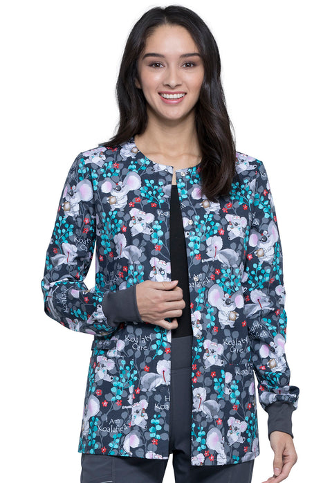 Cherokee Breast Cancer Awareness Women's Snap Front Warm-up Jacket - CK301