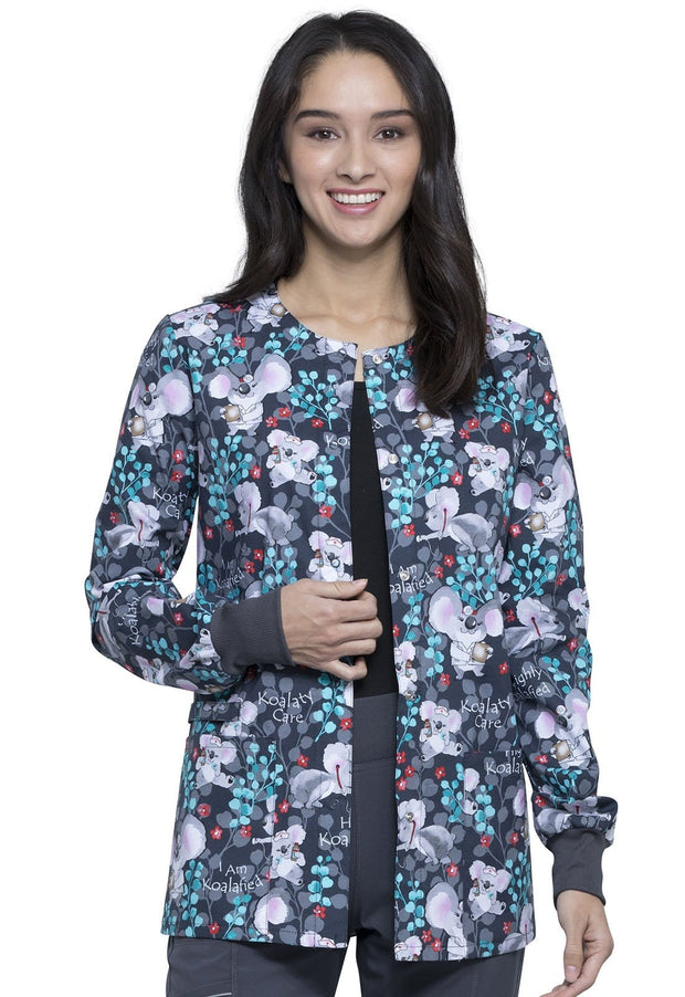 Cherokee Breast Cancer Awareness Women's Snap Front Warm-up Jacket - CK301 - ScrubHaven