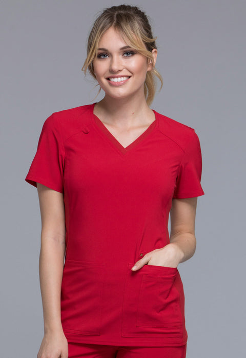 Cherokee iflex Women's V-Neck Knit Panel Top - CK605