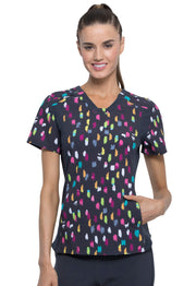 Cherokee Dots Outta Line Women's V-Neck Knit Panel Top - CK641