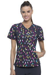 Cherokee Dots Outta Line Women's V-Neck Knit Panel Top - CK641 - ScrubHaven