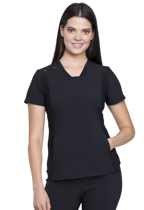 Cherokee iflex Women's V-Neck Knit Panel Top - CK775 - ScrubHaven