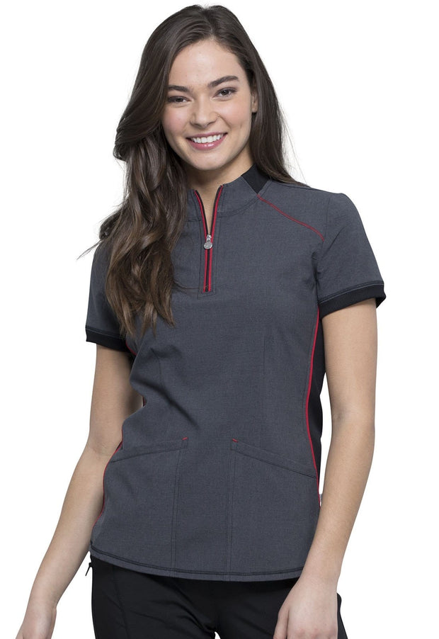 Cherokee Infinity Women's Zip-up Mock Neck Top - CK805A - ScrubHaven